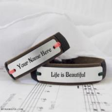 Awesome Personalized Leather Bracelet With Name