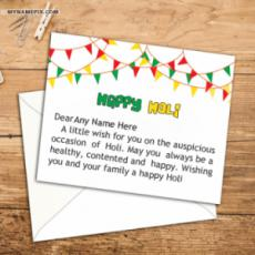 Best Wishes Holi Cards With Name