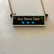 Personalized Blue Diamonds Black Bar Necklace With Name