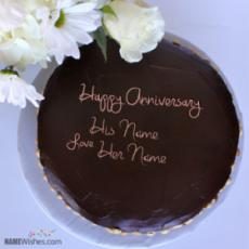 Chocolate Anniversary Cake With Name