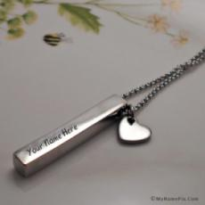Personalized Elegant Silver Bar Neckalce With Name