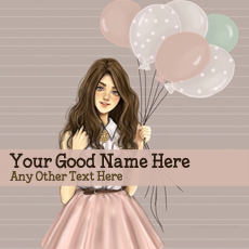 Girl With Baloons With Name
