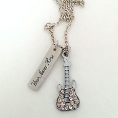 Personalized Guitar Plate Necklace With Name