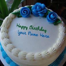 Blue Flower Icecream Cake With Name