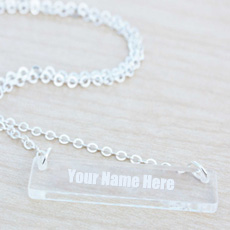 Personalized Glass Bar Necklace With Name