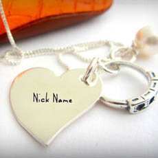 Personalized Nick Name Heart Necklace With Name
