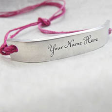 Personalized Pink Silver Personalized Bracelet With Name