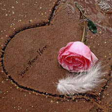 Sand Heart and Rose With Name