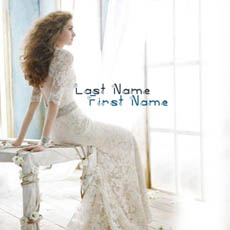 White dressed beautiful girl With Name