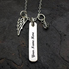 Personalized Wing Charm Silver Snake Chain With Name