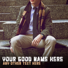 Stylish Guy Sitting With Name