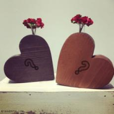 Couple Name Initials on Wooden Hearts