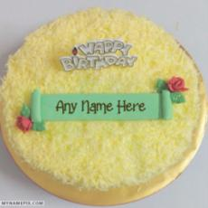 Yellow Decorated Birthday Cakes With Name