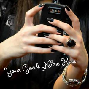 Cell Phone Girl in Black With Name