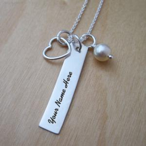 Personalized Heart Charm Rectangle Necklace With Name