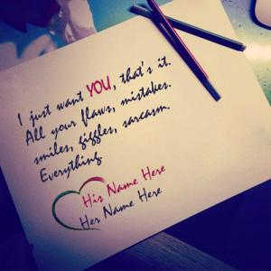 I Just Want You Love Note With Name
