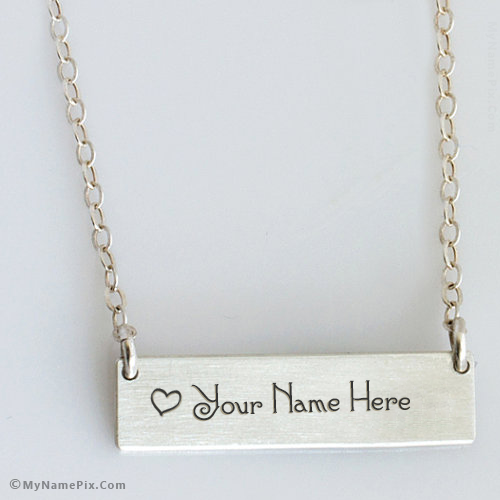 Personalized Amazing Heart Necklace Bar With Name
