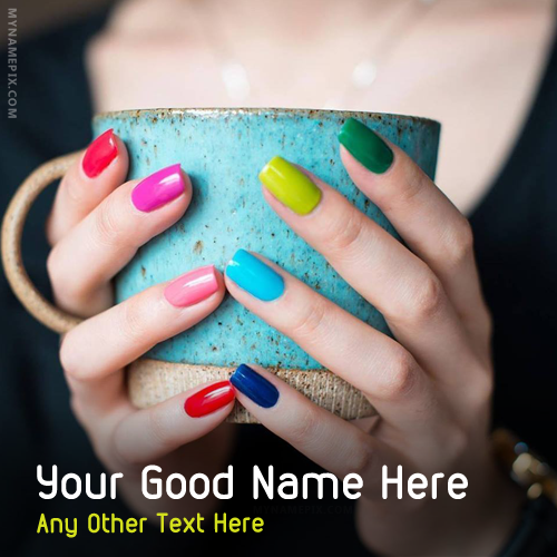 Colorful Nails Paint With Name