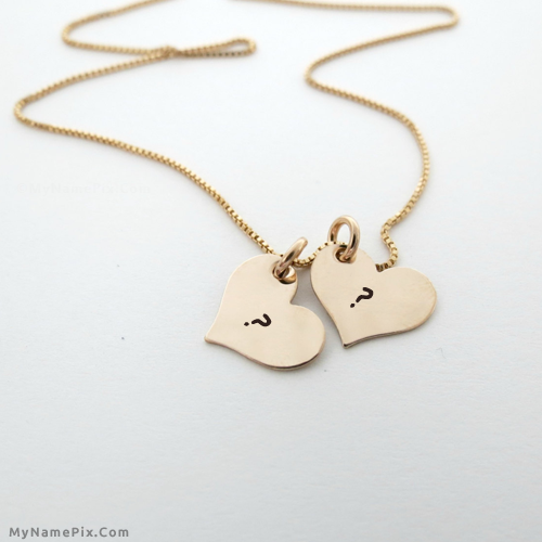 Couple Hearts Necklace With Name