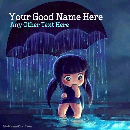 Cute Girl in Rain With Name