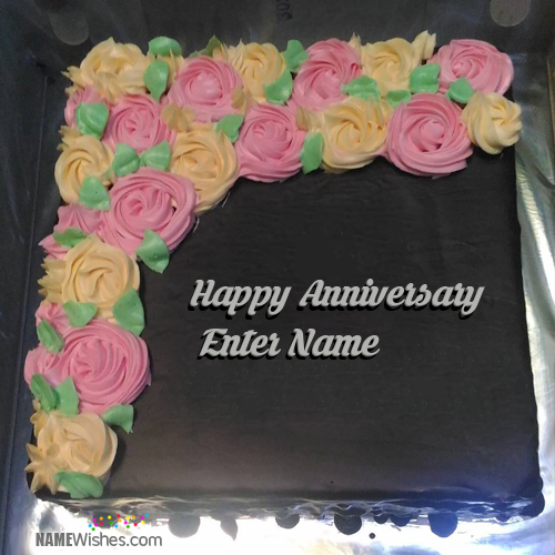 Happy Wedding Anniversary Chocolate Cake With Name
