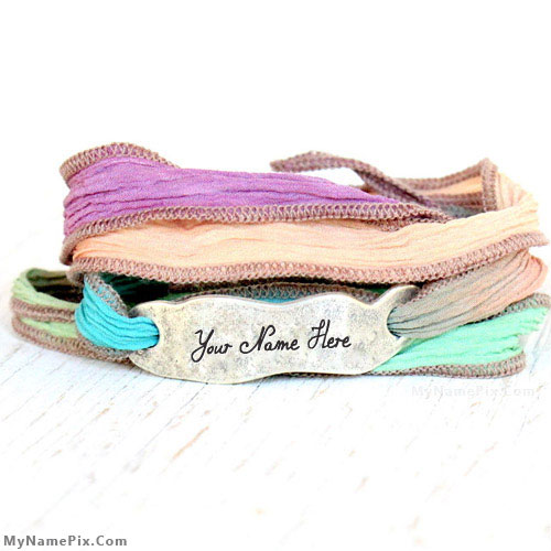Personalized Hand Dyed Silk Wrap Bracelet With Name