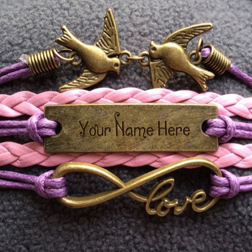 Personalized Love Birds Bracelet With Name