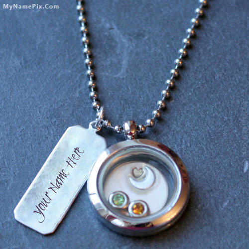 Personalized Round Silver Necklace With Name