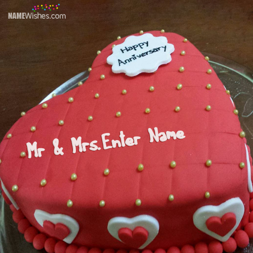 Red Velvet Cake For Wedding Anniversary With Name
