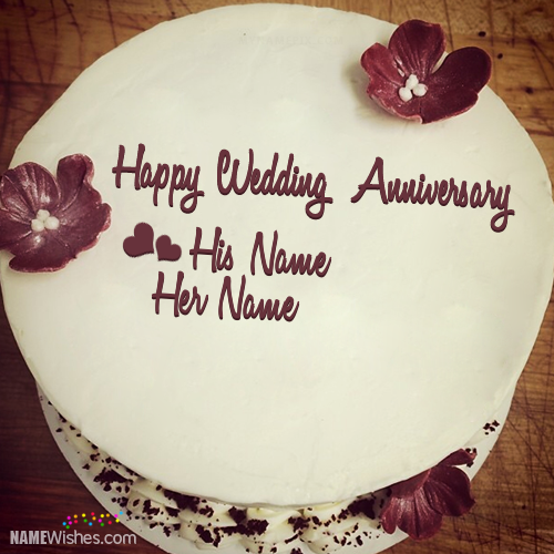 Unique Anniversary Cake With Name